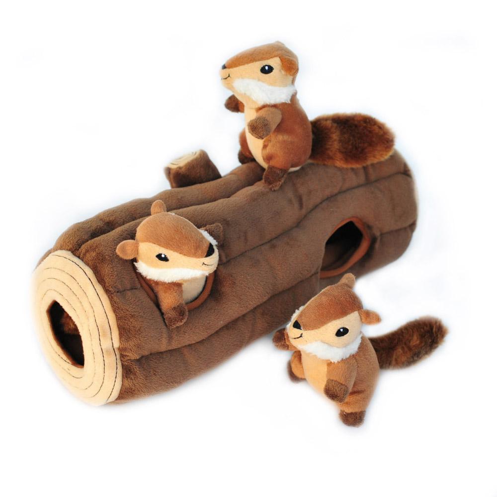 Zippy Burrow Log with 3 Chipmunks-0